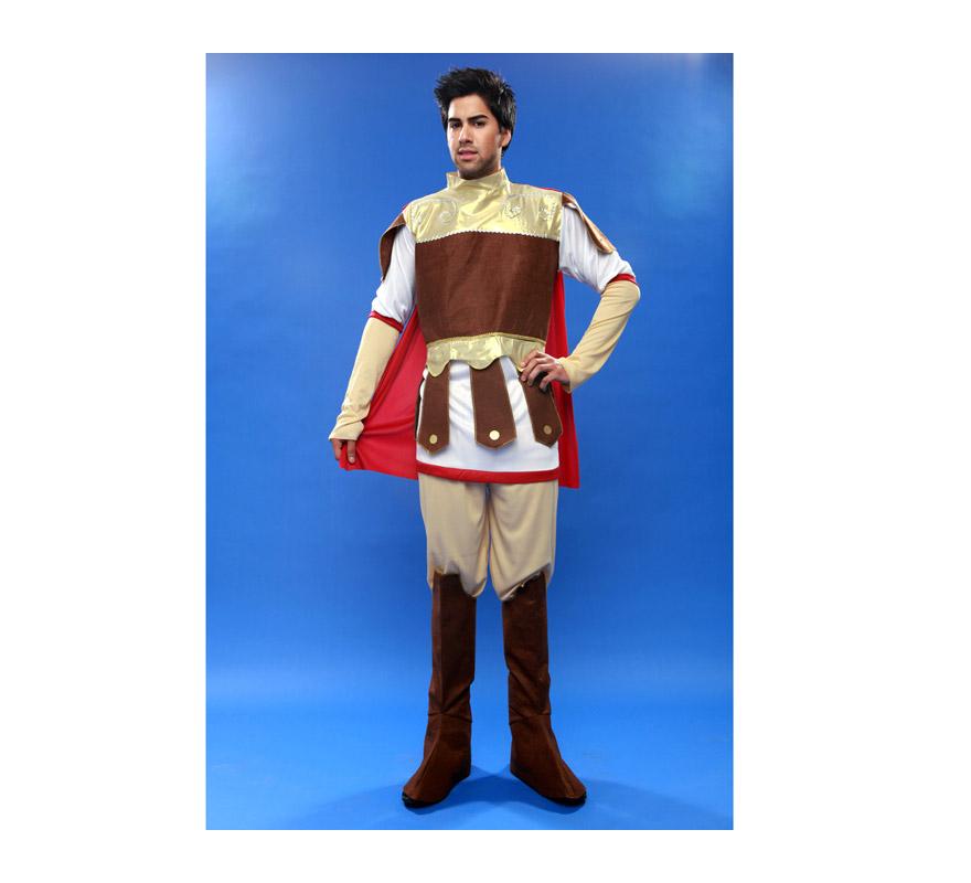 Disfraz barato de Guerrero o Centurión Romano para hombre. Talla standar M-L = 52/54. Incluye camisa con capa, pantalón y cubrebotas. Ideal para teatros de Colegios en Navidad.