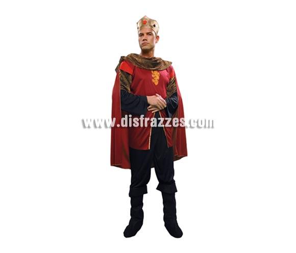 Disfraz de Caballero barato para hombre. Talla M-L = 52/54. Incluye camisa con capa, pantalón, cubrebotas y corona. Podría decirse mejor que es un traje de Rey Medieval para hombre ideal para Ferias o Fiestas Medievales.