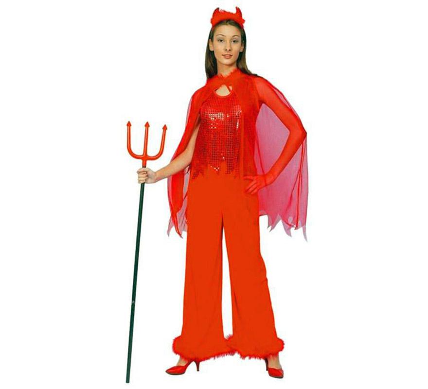 Disfraz de Mujer Demonio de Lentejuelas Adulta Económico. Talla Standar M-L = 38/42. Incluye camisa con capa, pantalón y cuernos. Tridente NO incluido, podrás verlo en la sección de Complementos.