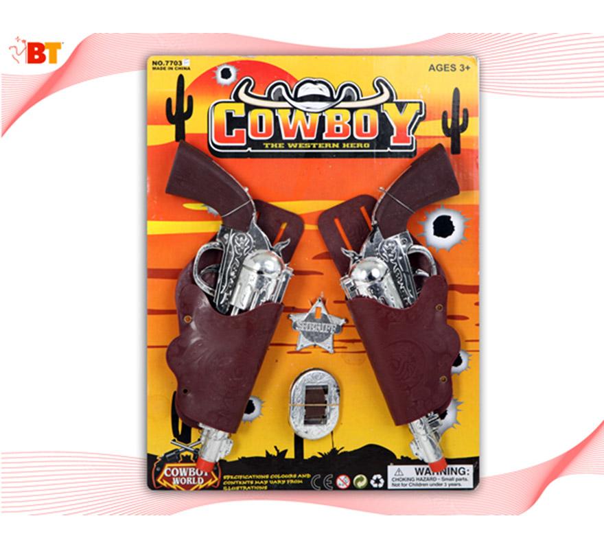 Set Pistolas de Cowboy, Vaquero o Pistolero. Contiene varios artículos relacionados con el Oeste tal y como se ve en la imagen.