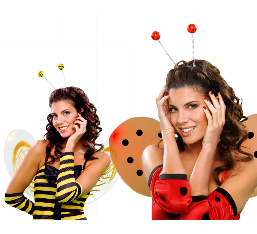 Diadema con antenas de Mariquita o Abeja para Carnavales.