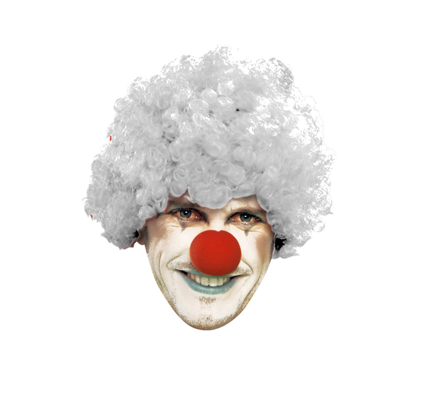 Peluca de Payaso rizada blanca adultos para Carnaval. Talla universal adultos.