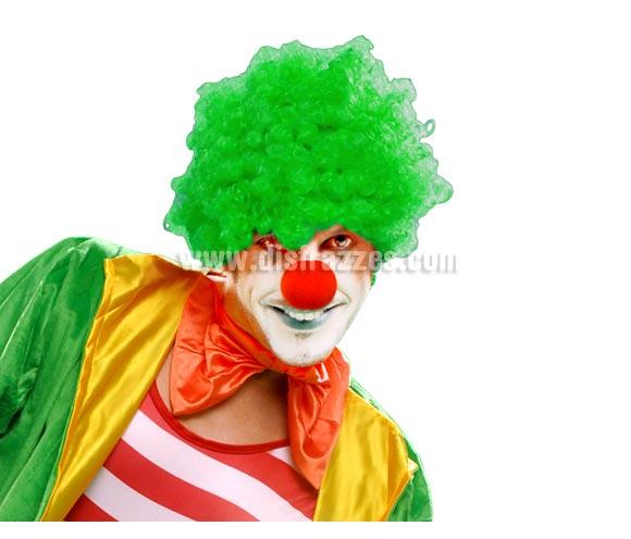 Peluca de Payaso rizada verde adultos para Carnaval. Talla universal adultos.