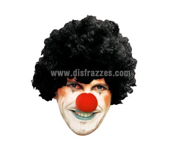 Peluca de Payaso rizada negra adultos para Carnaval. Talla universal adultos.
