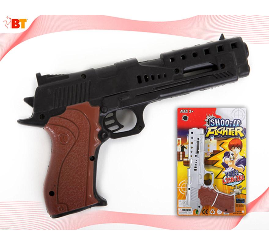 Pistola de Gánster o Policía con luz. Dos modelos surtidos, precio por unidad, se venden por separado.