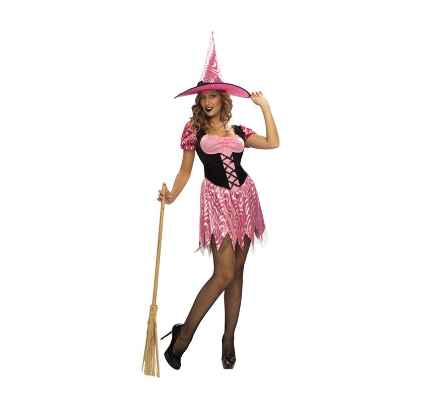 Disfraz barato de Bruja Sexy para mujer. Talla standar M-L 38/42. Incluye vestido y sombrero. Escoba NO incluida, podrás verla en la sección de Complementos. OJO - El estampado del vestido puede cambiar y no ser idéntico al de la imagen.