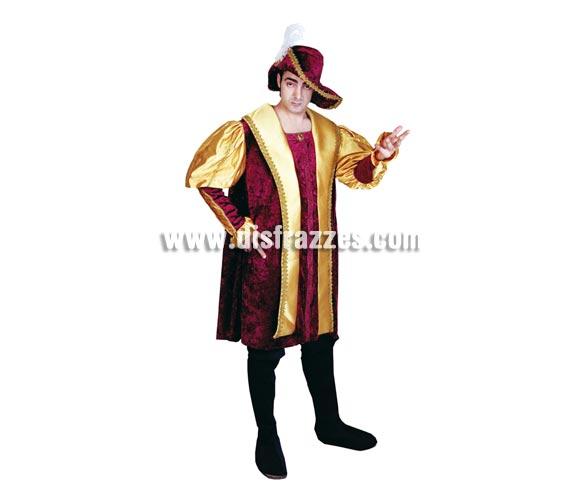 Disfraz de Príncipe Gótico adulto económico. Talla Standar M-L 52/54. Incluye traje, cubrebotas y sombrero.
