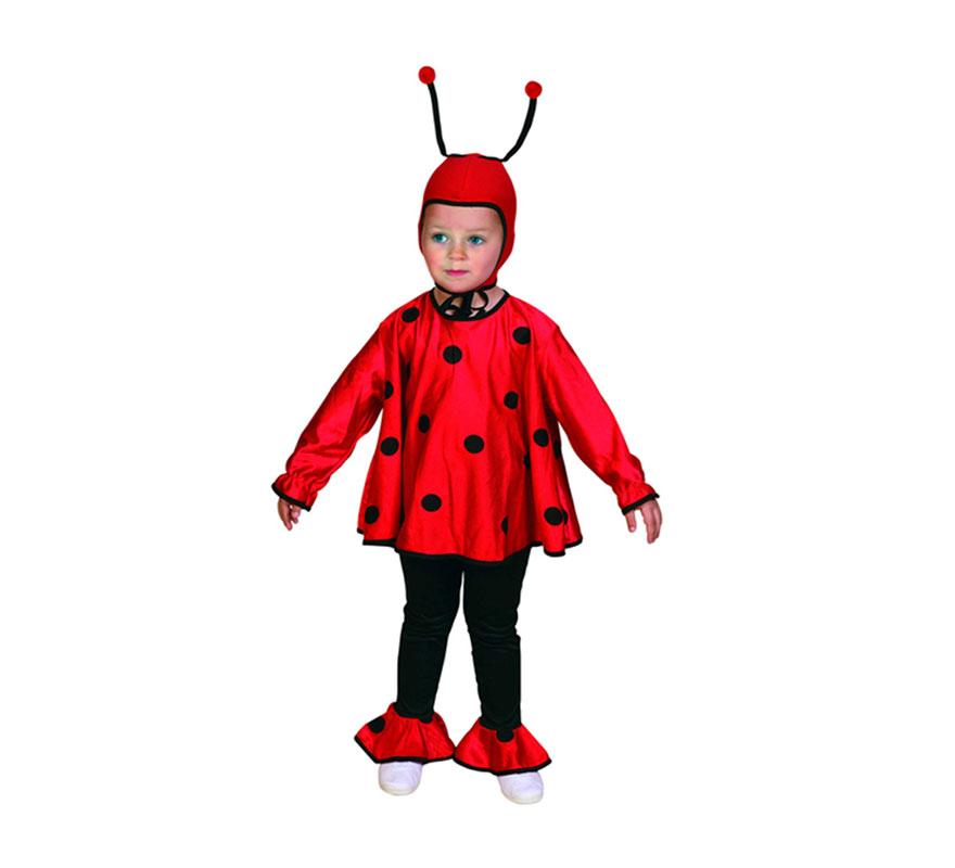 Disfraz de Mariquita para niñas de 3 a 4 años. Incluye disfraz completo.