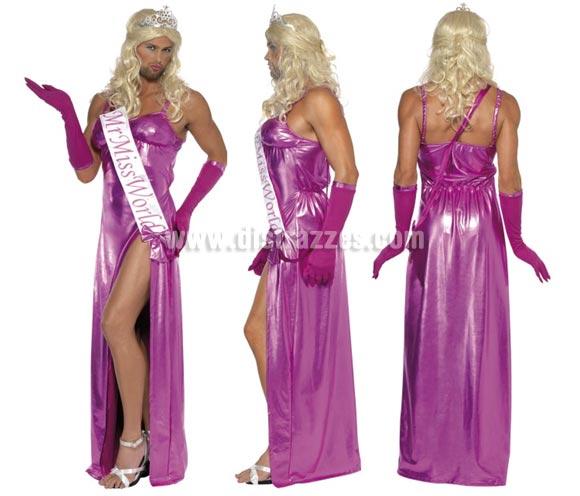 Disfraz de Miss Mundo para hombres talla M. Incluye vestido, guantes y banda. Resto de accesorios NO incluidos, podrás verlos en la sección de Complementos.