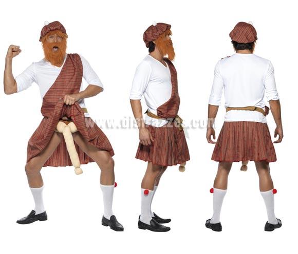 Disfraz de Escocés Montañés para hombre talla M 42/44. Incluye disfraz completo y con calcetines, también el gorro y la barba. Éste disfraz es perfecto para Despedidas de Soltero.