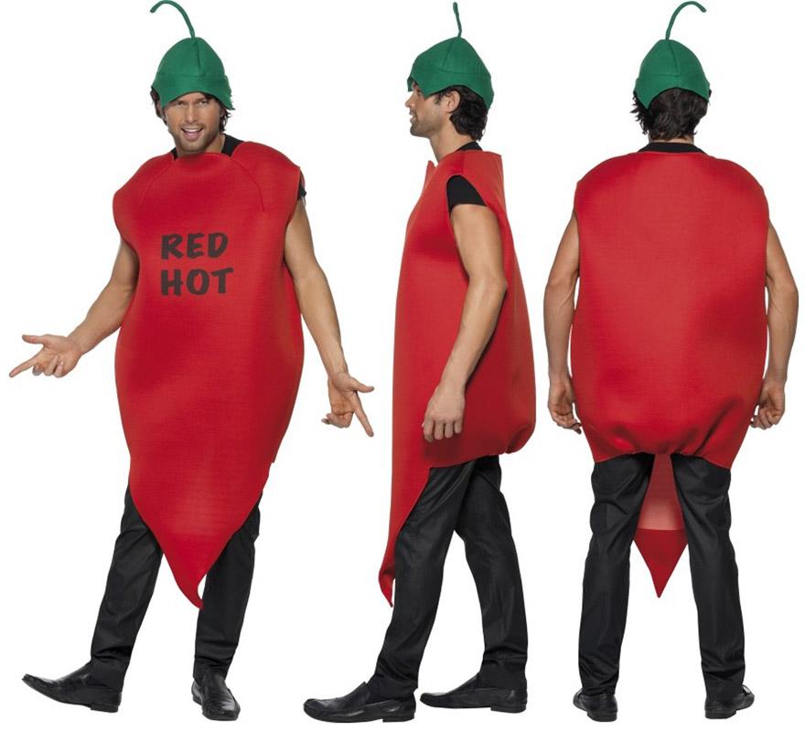 Disfraz de Pimiento rojo o de Guindilla picante para hombre talla M. Incluye traje y gorro.