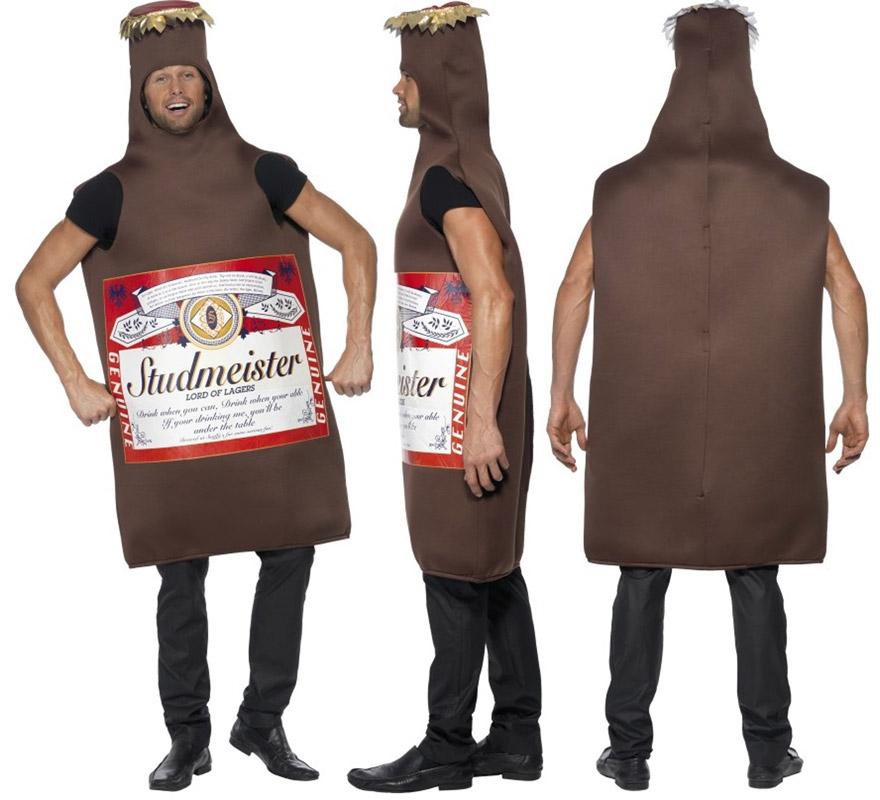 Disfraz de Botellín de Cerveza Studmeister para adultos. Talla Universal de adultos. Incluye disfraz.