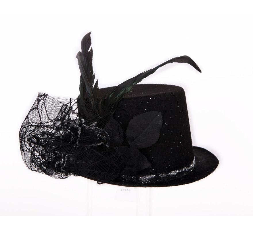 Sombrero de negro con flor y plumas para Halloween. Sombrero de Cabaret.