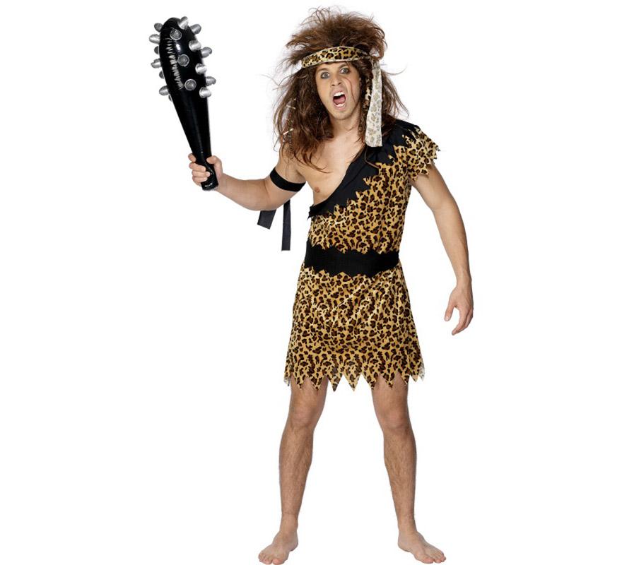 Disfraz de Cavernícola o Troglodita para hombre talla L 46/48. Incluye túnica, brazalete y cinta de la cabeza. Peluca y maza o porra NO incluidas, podrás verla en la sección de Complementos.