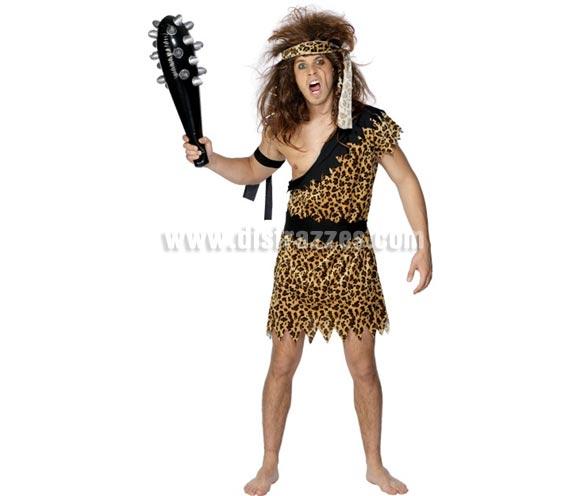 Disfraz de Cavernícola o Troglodita para hombre talla M 42/44. Incluye túnica, brazalete y cinta de la cabeza. Peluca y maza o porra NO incluidas, podrás verla en la sección de Complementos.