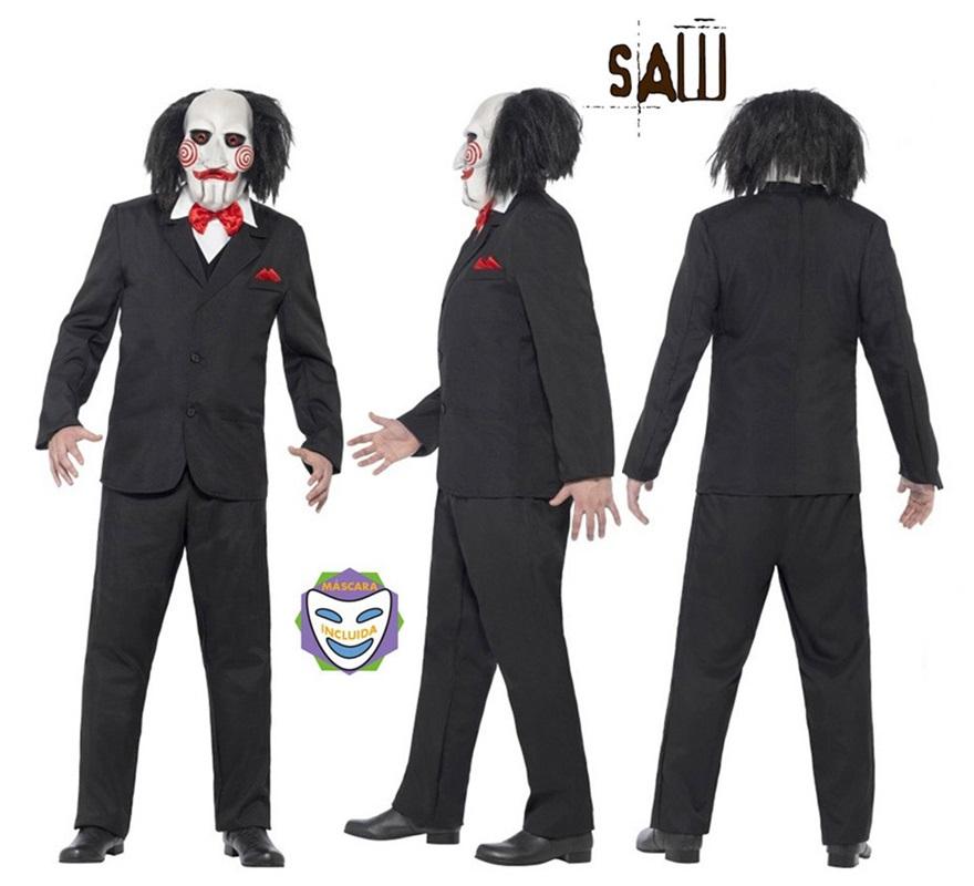 Disfraz de Títere Bill de Saw Jigsaw para Hombre talla M para Halloween. Producto con licencia oficial de la exitosa saga cinematográfica de terror SAW. Se compone de Máscara, Chaqueta con falsa Camisa y Chaleco. La marioneta Bill se encargaba de comunicarse con las víctimas de John Kramer o Puzzle (Jigsaw) y decía aquello de: Quiero jugar a un juego... Vivir o morir... Tú decídes... Que empiece el juego !!!