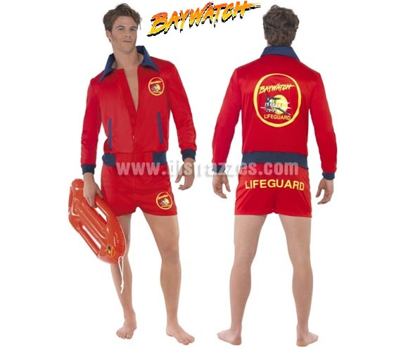 Disfraz de la serie Los Vigilantes de la Playa o Socorrista para hombre talla M. Incluye chaqueta y pantalón. Salvavidas hinchable NO incluido, podrás verlo en la sección de Complementos.