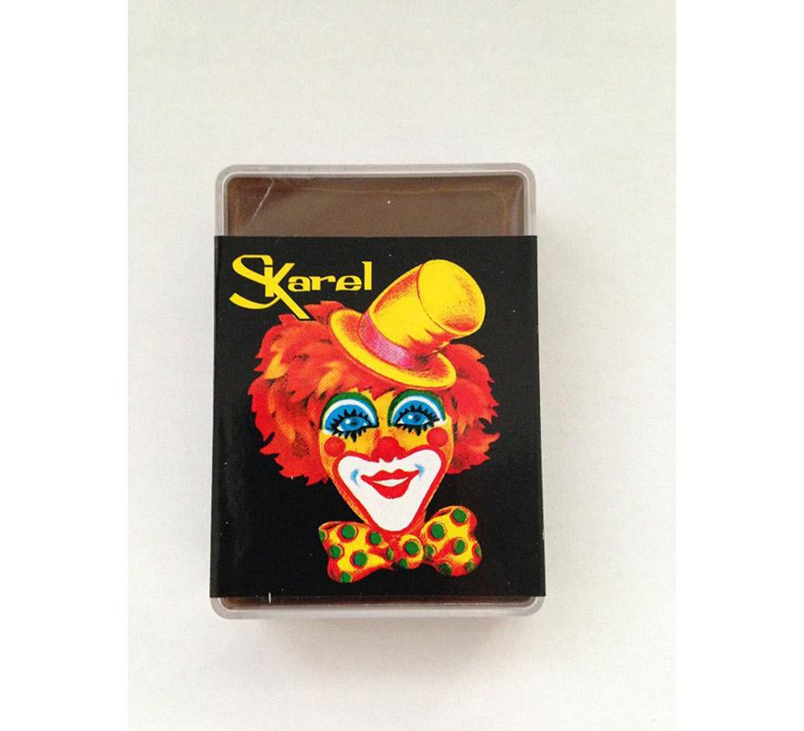 Cajita de maquillaje graso de color Marrón de 25 gr. Desmaquillar con agua y jabón o desmaquillador.
