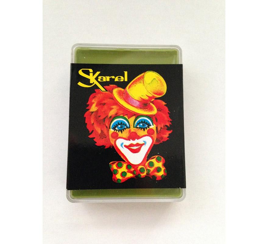 Cajita de maquillaje graso de color Verde Claro de 25 gr. Desmaquillar con agua y jabón o desmaquillador. Ideal para los disfraces de Rana, Extraterrestre, Elfo o Frankenstein.