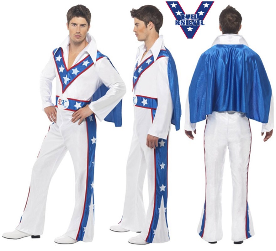 Disfraz de Evel Knievel para hombre talla M. Incluye Jumpsuit con capa. Con esté disfraz te podrás parecer al hombre que fue un popular motociclista de acrobacias de la década de los 60 y 70.