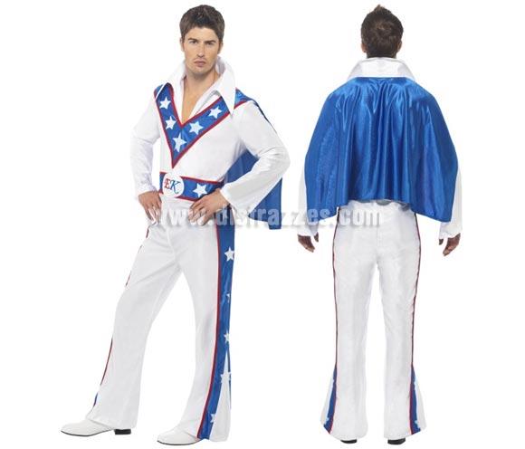 Disfraz de Evel Knievel para hombre talla L. Incluye Jumpsuit con capa. Con esté disfraz te podrás parecer al hombre que fue un popular motociclista de acrobacias de la década de los 60 y 70.