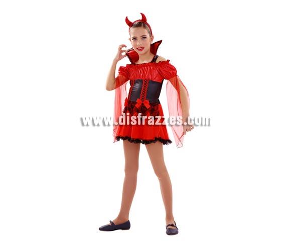 Disfraz barato de Demonia roja para niñas de 7 a 9 años