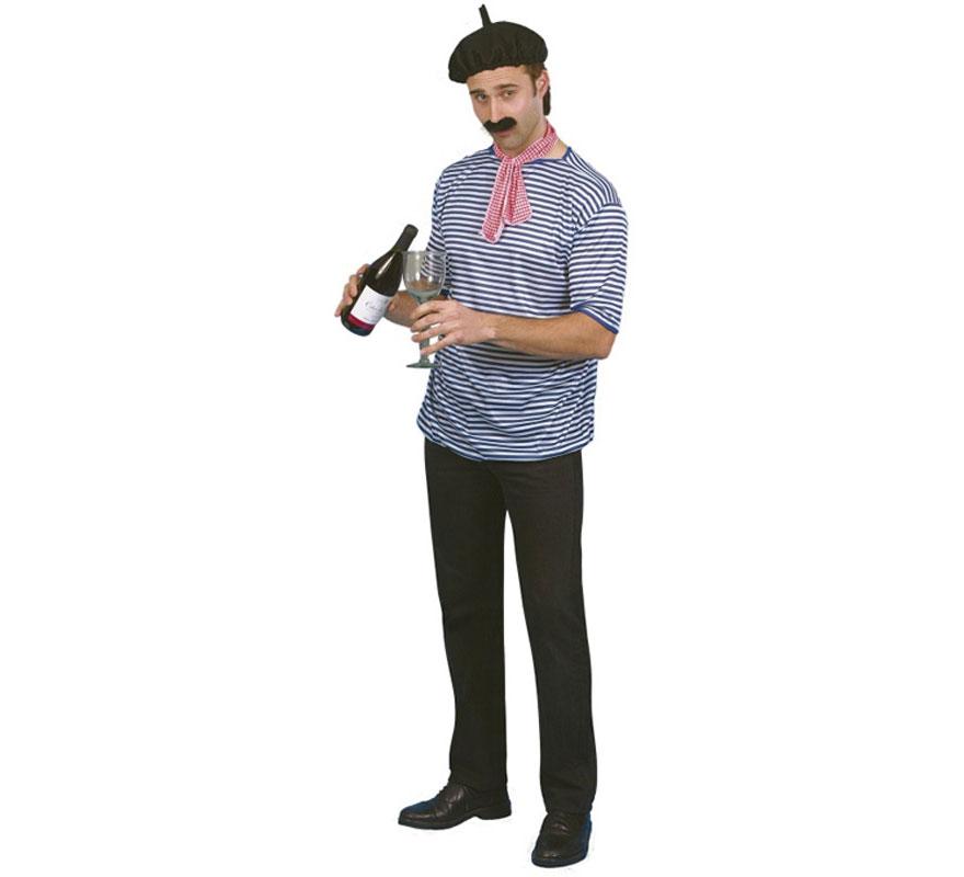 Disfraz o Kit de Francés: Camiseta, Boina, Pañuelo y Bigote. Completa tu disfraz con Peluca, barba, perilla, botella, copa...