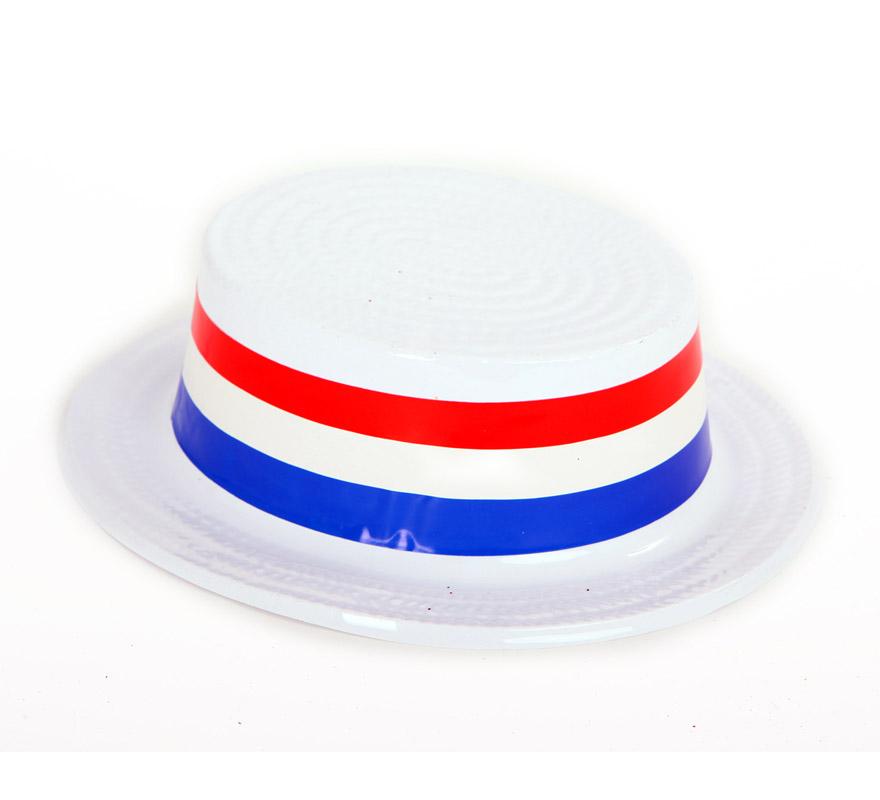Sombrero o gorro Canotier o de Gondolero Veneciano blanco de plástico. Talla universal. También sirve como sombrero de Bert el de la película de Mary Poppins.