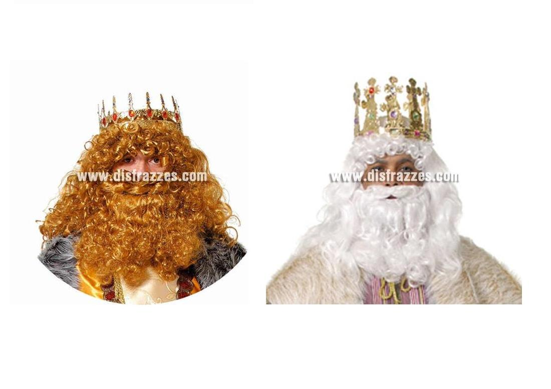 Barba de Rey Mago blanca o rubia de alta Calidad. Peluca NO incluida, podrás verla en la sección de Complementos.
