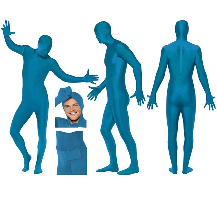 Mono segunda piel de color azul talla L de hombre, pero se lo pueden poner mujeres sin ningún problema ya que la tela es muy elástica y se adapta al cuerpo. Aconsejamos que consultes la tabla de medidas de hombre de éste proveedor para comprobar cuál sería tu talla antes de incluir éste artículo en tu pedido. Tela elástica. Limpieza en seco. SECOND SKIN SUIT. Incluye bolsillo, tipo riñonera para atarla en la cintura. Tiene un corte en el cuello por si quieres sacar la cabeza y va abierto por abajo para poder ir al baño sin tener que quitarte el disfraz.