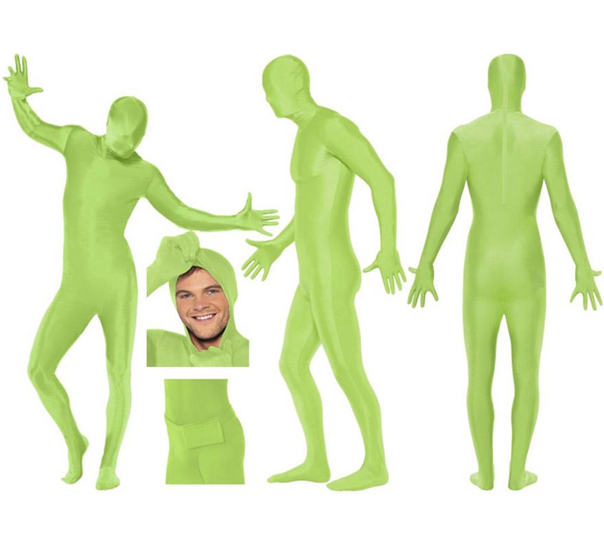 Mono segunda piel de color verde talla L de hombre, pero se lo pueden poner mujeres sin ningún problema ya que la tela es muy elástica y se adapta al cuerpo. Aconsejamos que consultes la tabla de medidas de hombre de éste proveedor para comprobar cuál sería tu talla antes de incluir éste artículo en tu pedido. Tela elástica. Limpieza en seco. SECOND SKIN SUIT. Incluye bolsillo, tipo riñonera para atarla en la cintura. Tiene un corte en el cuello por si quieres sacar la cabeza y va abierto por abajo para poder ir al baño sin tener que quitarte el disfraz.