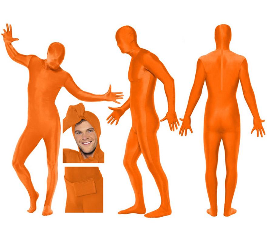 Mono segunda piel de color naranja talla M de hombre, pero se lo pueden poner mujeres sin ningún problema ya que la tela es muy elástica y se adapta al cuerpo. Aconsejamos que consultes la tabla de medidas de hombre de éste proveedor para comprobar cuál sería tu talla antes de incluir éste artículo en tu pedido. Tela elástica. Limpieza en seco. SECOND SKIN SUIT. Incluye bolsillo, tipo riñonera para atarla en la cintura. Tiene un corte en el cuello por si quieres sacar la cabeza y va abierto por abajo para poder ir al baño sin tener que quitarte el disfraz.