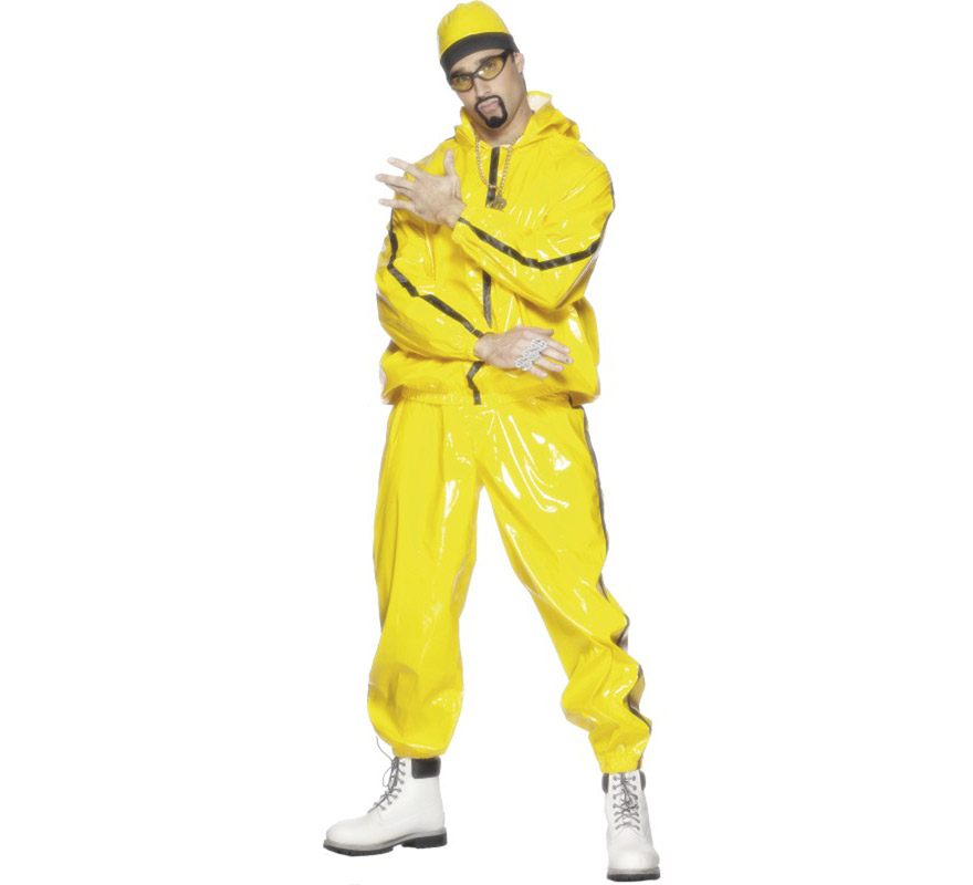 Disfraz de Rapero Amarillo o de Ali G de PVC para hombre talla M. Incluye chaqueta con capucha, pantalón y sombrero. Ideal para disfrazarse de Hip-Hop.