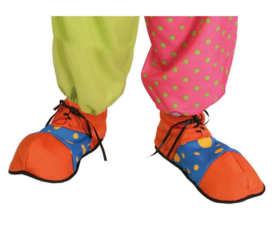Zapatos de Payaso naranja y azul de tela.