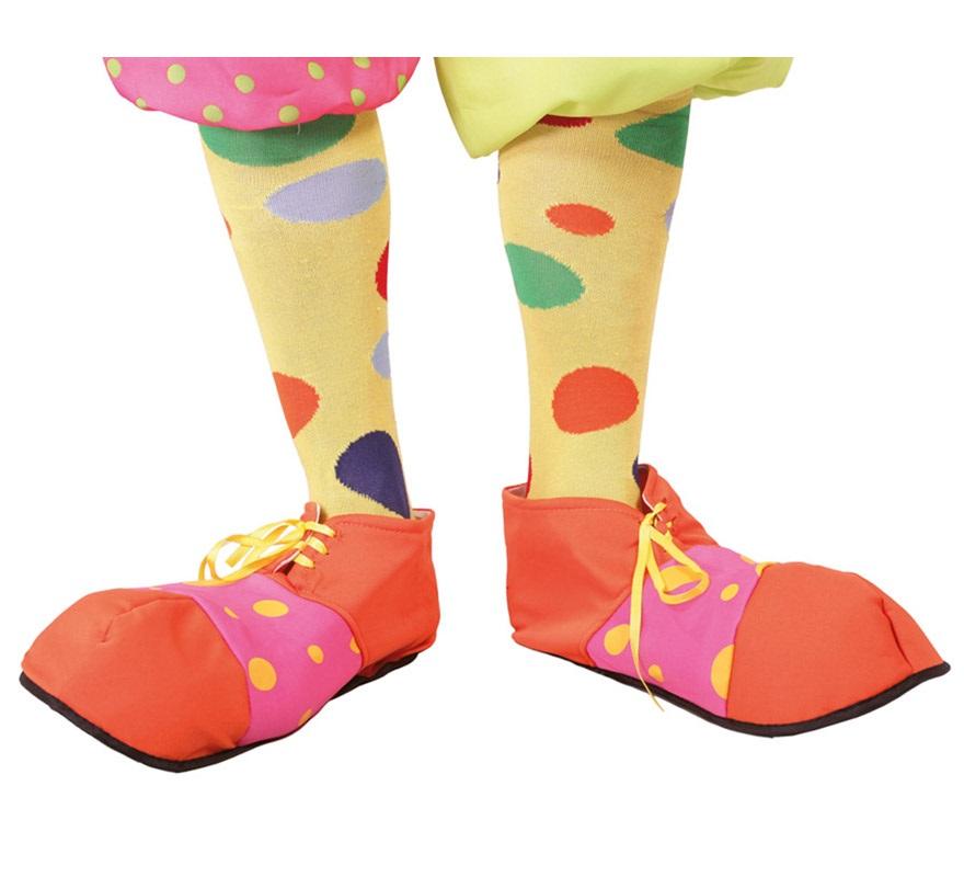Zapatos de Payaso naranja y rosa de tela.