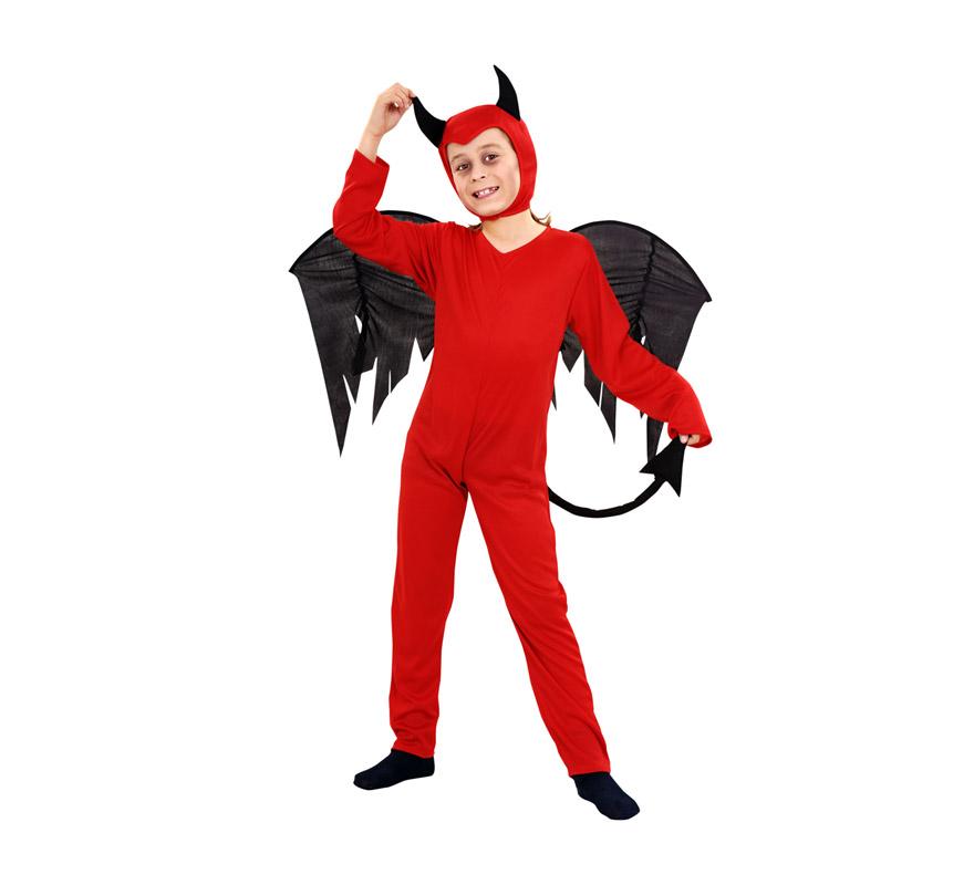 Disfraz de Diablo o Demonio para niños de 7 a 9 años. Incluye mono, verdugo y alas.