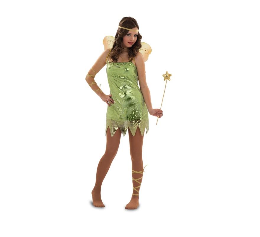 Disfraz de Hada Verde para mujer. Talla S 34/38 para chicas delgadas y para adolescentes. Incluye vestido, varita, 3 cintas y gargantilla. Alas NO incluidas. podrás verla en la sección de Complementos.