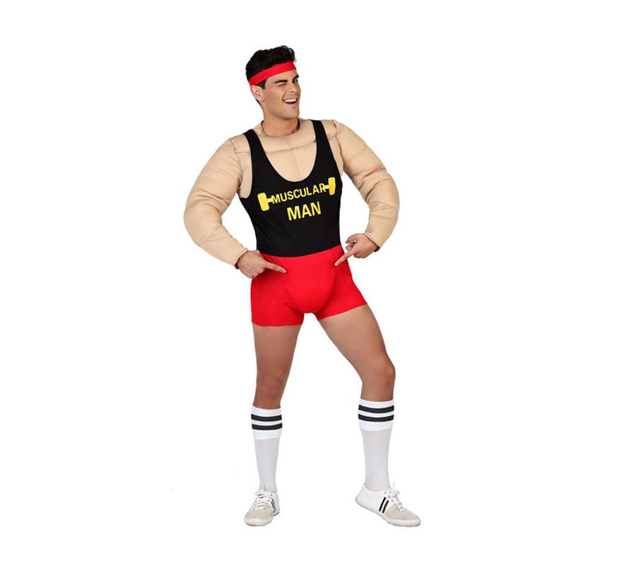 Disfraz de Muscular Man Forzudo o Chico de Gimnasio Musculoso para hombres. Talla M-L = 52/54. Incluye pantalón corto, camisa con músculos y cinta para la cabeza. Perfecto para Despedidas de Soltero.