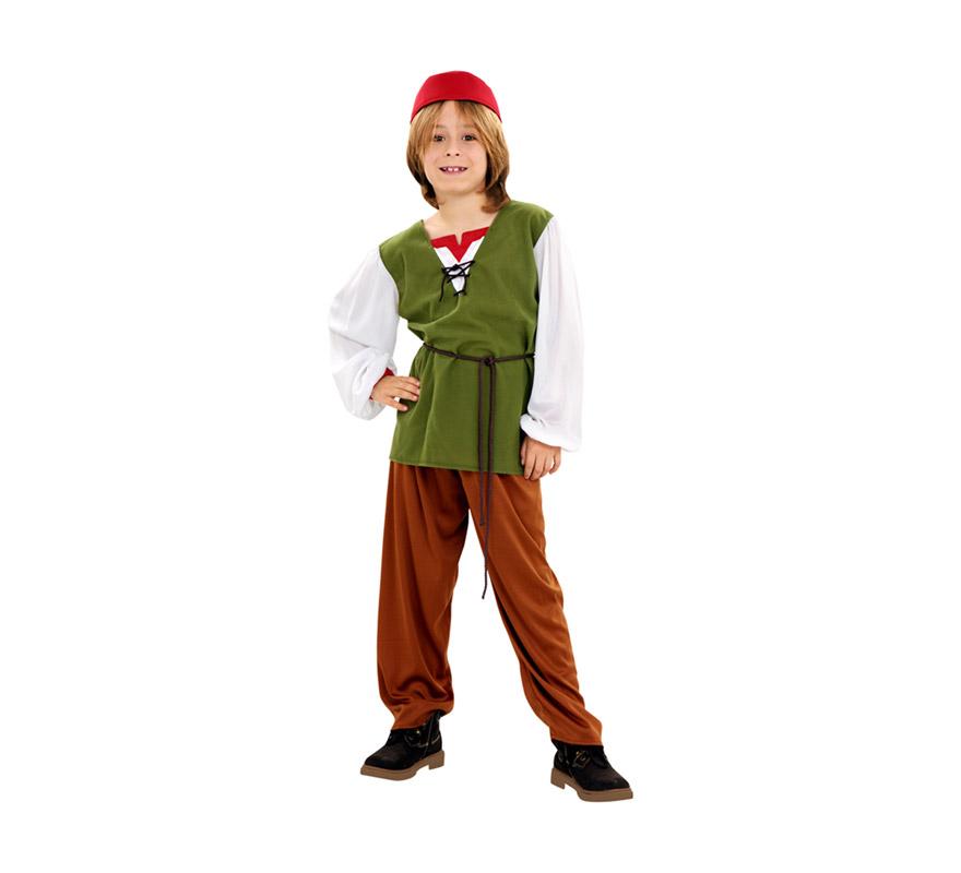 Disfraz de Frutero para niños de 7 a 9 años. Incluye camisa, pantalón, cinturón y gorro. También es perfecto como disfraz Medieval.