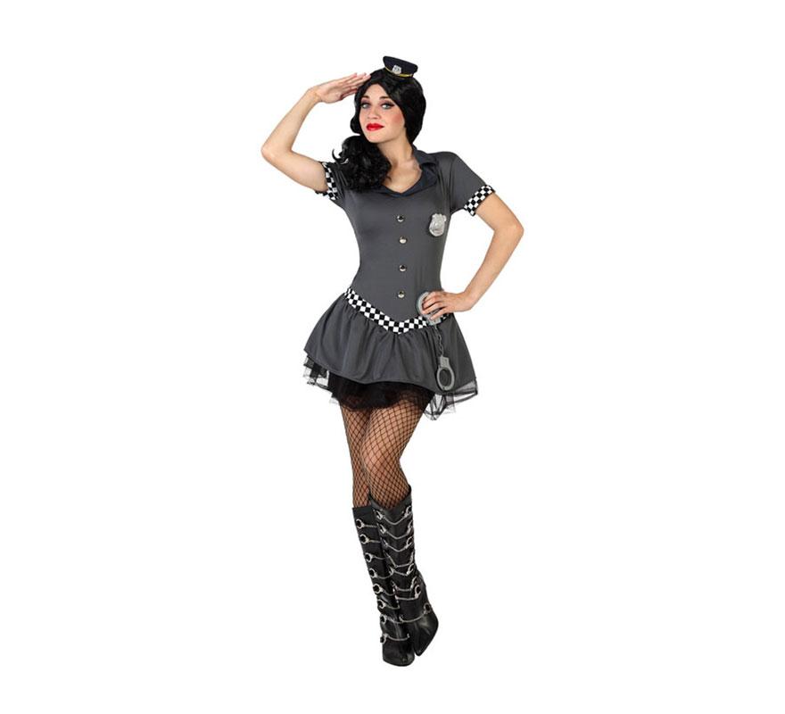 Disfraz para mujeres de Policía Tutú sexy. Talla M-L = 38/42. Incluye vestido y placa. Resto de complementos NO incluidos, podrás verlos en la sección de Accesorios.
