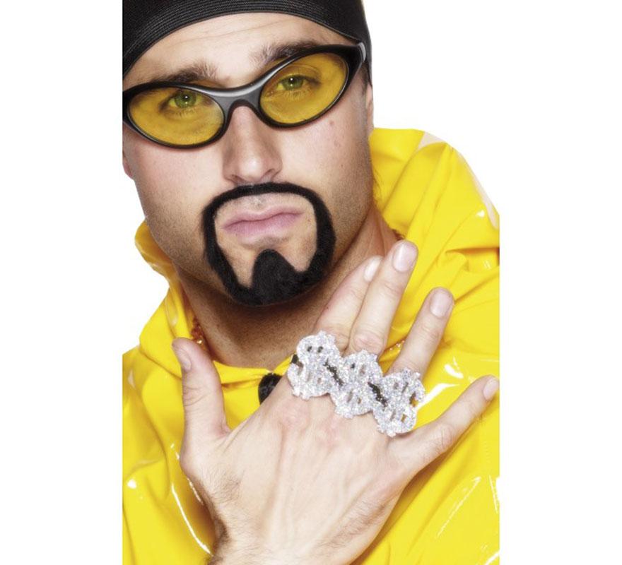 Anillo de Chulo o Rapero de tres Símbolos del Dolar. Complemento ideal para nuestros disfraces de  los años 70, rapero o hip-hop (Ali G), chulo, gánster, Jeque Árabe o Magnate del petróleo...