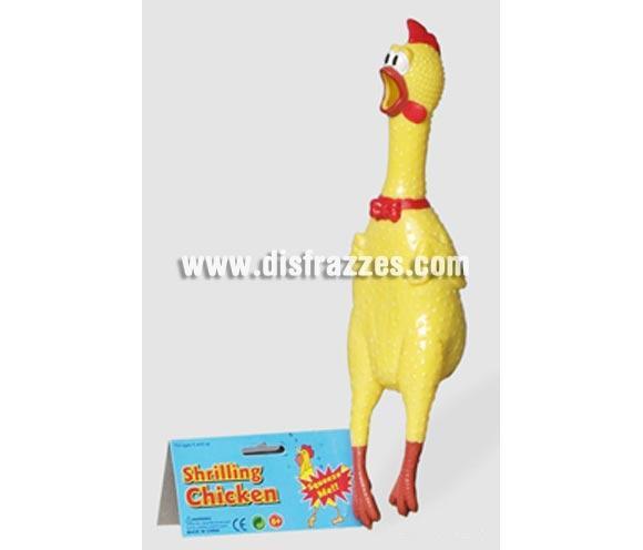 Pollo Cantaor 32 cms. Perfecto como complemento para disfraces de Cocinero o Cocinera. Produce un sonido muy gracioso imitando el canto del gallo cuando lo presionas.