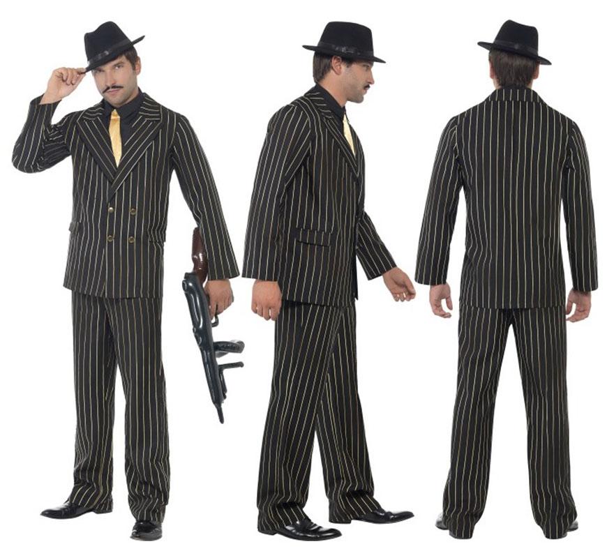 Disfraz de Gánster Negro rayas Doradas para hombre talla L 46/48. Disfraz de Gangster o Mafioso años 20 Ley Seca de Alta Calidad. Incluye Chaqueta, Pantalón, Camisa y Corbata, no incluye sombrero, ametralladora ni calzado. Completa tu disfraz con nuestros artículos de la sección de complementos.