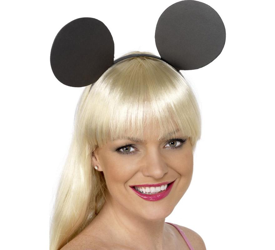Diadema de Orejas de Ratón. Divertido complemento ideal para nuestros disfraces de elefante. Perfecto para imitar al entrañable ratoncito Mickey Mouse o a su novia Minnie.