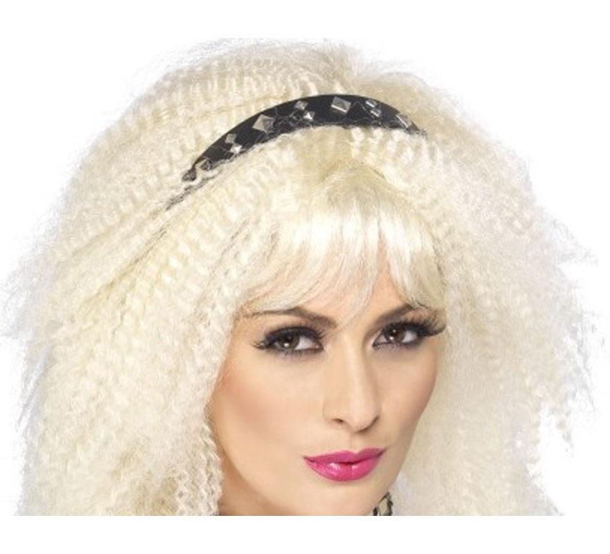Diadema Punk o Pop Negra con Tachuelas de los 80. Complemento ideal y de Alta Calidad para nuestros disfraces de los años 80, Divas, cantantes o estrellas del Pop, Rock y Punky.