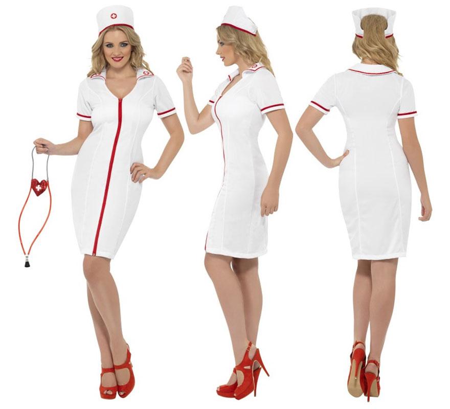 Disfraz de Enfermera de Cremallera para Mujer talla L 44/46. Disfraz de Alta Calidad. Se compone de Vestido y Cofia con cruz. Completa tu disfraz con artículos de nuestra sección de accesorios como jeringuilla o estetoscopio, e incluso puedes tintarlo con sangre artificial.