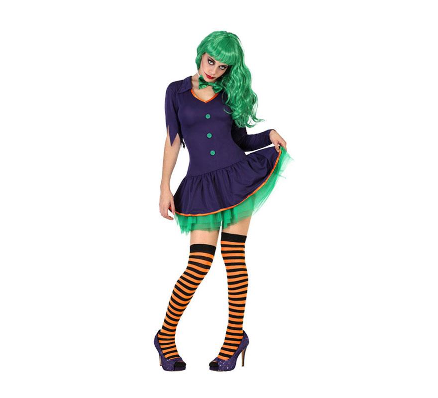 Disfraz de Payasa Malvada de Halloween para mujer. Talla XL = 44/48. Incluye vestido y pajarita. Peluca, medias y zapatos NO incluidos. Podrás completar el disfraz con complementos de la sección de Accesorios. Perfecto para imitar a Joker de la película de Batman.