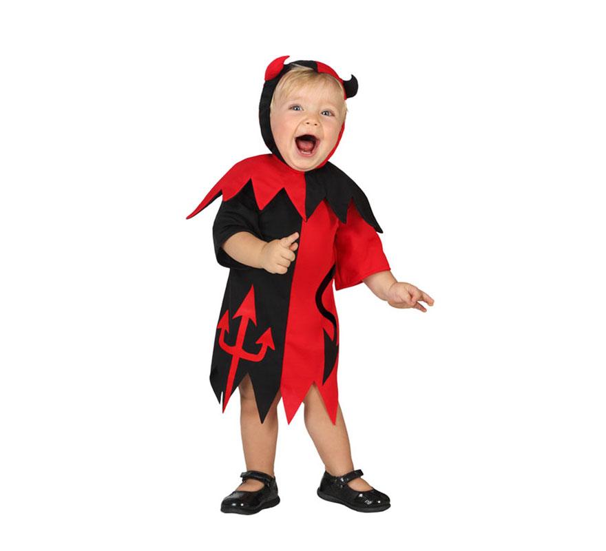 Disfraz de Demonia rojo y negro para bebés de talla 6 a 12 meses para Halloween. Incluye vestido y capucha. Con este disfraz parecerá una Diablilla.