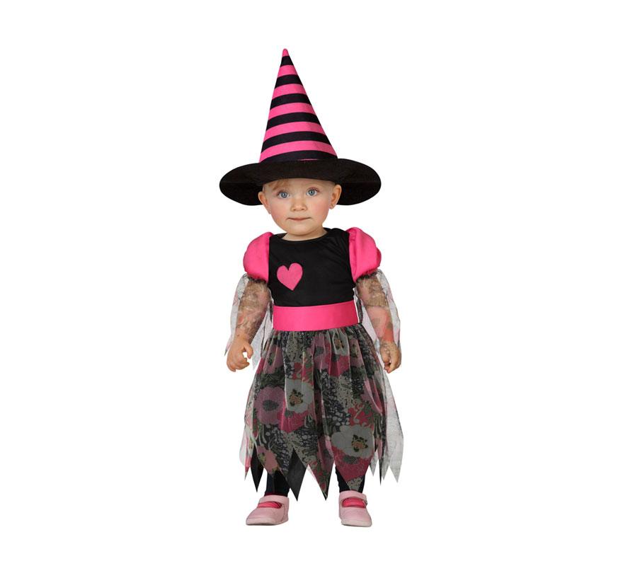 Disfraz de Bruja o Brujita rosa con corazón para bebés de 6 a 12 meses. Incluye vestido y sombrero.