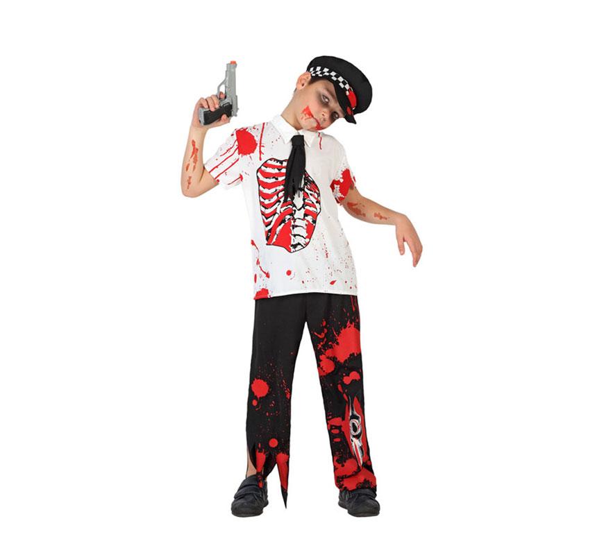 Disfraz de Policía Zombie Sangriento para niños de 5 a 6 años. Incluye pantalón, camiseta con corbata y gorra. Pistola NO incluida. Con un buen maquillaje y con algún complemento darás mucho miedo en Halloween.